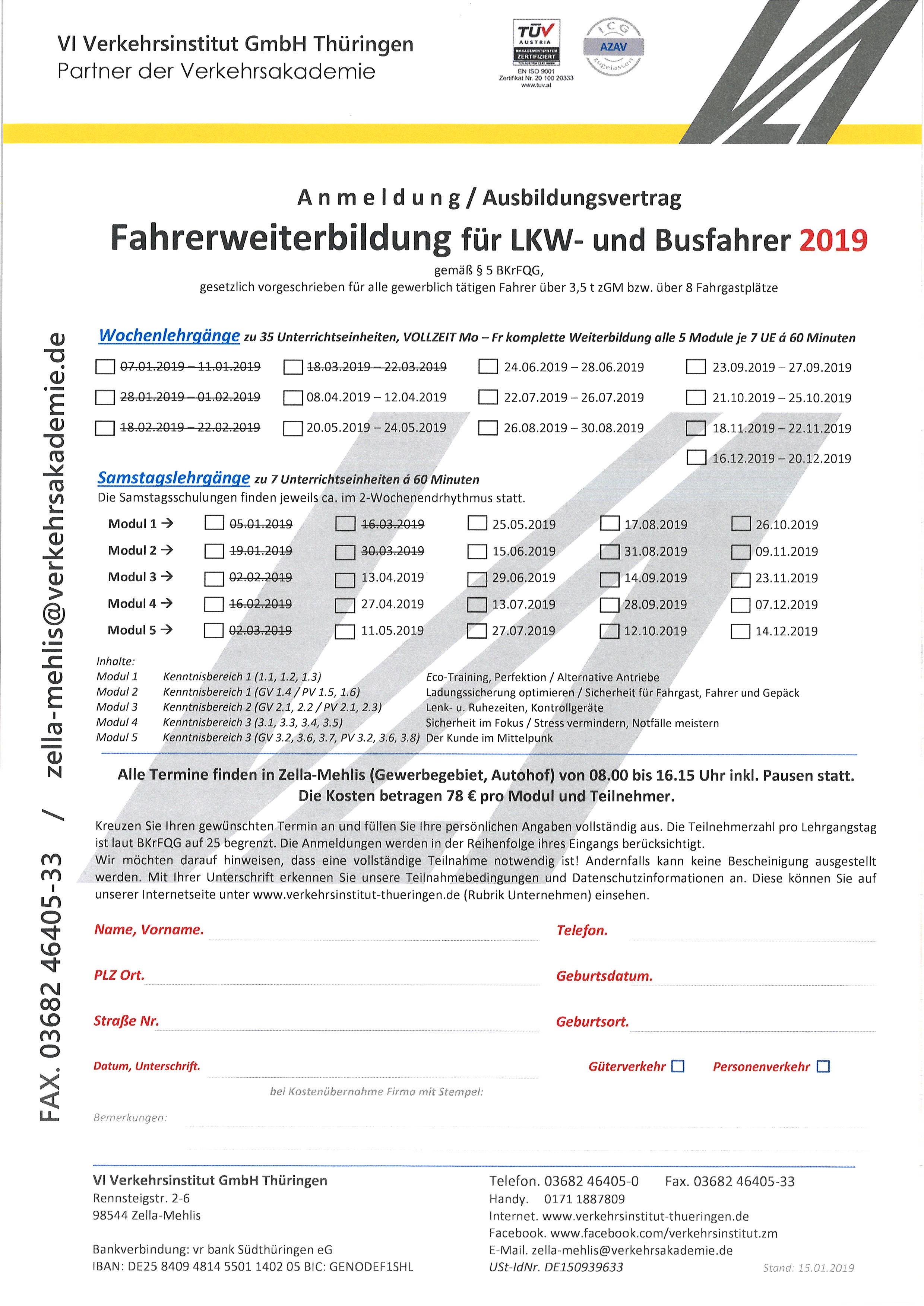 Anmeldeformular vom Verkehrsinstitut Thüringen zur Berufskraftfahrer Weiterbildung für LKW- und Busfahrer